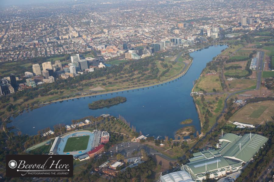 Aerial shot of Albert Park Lake