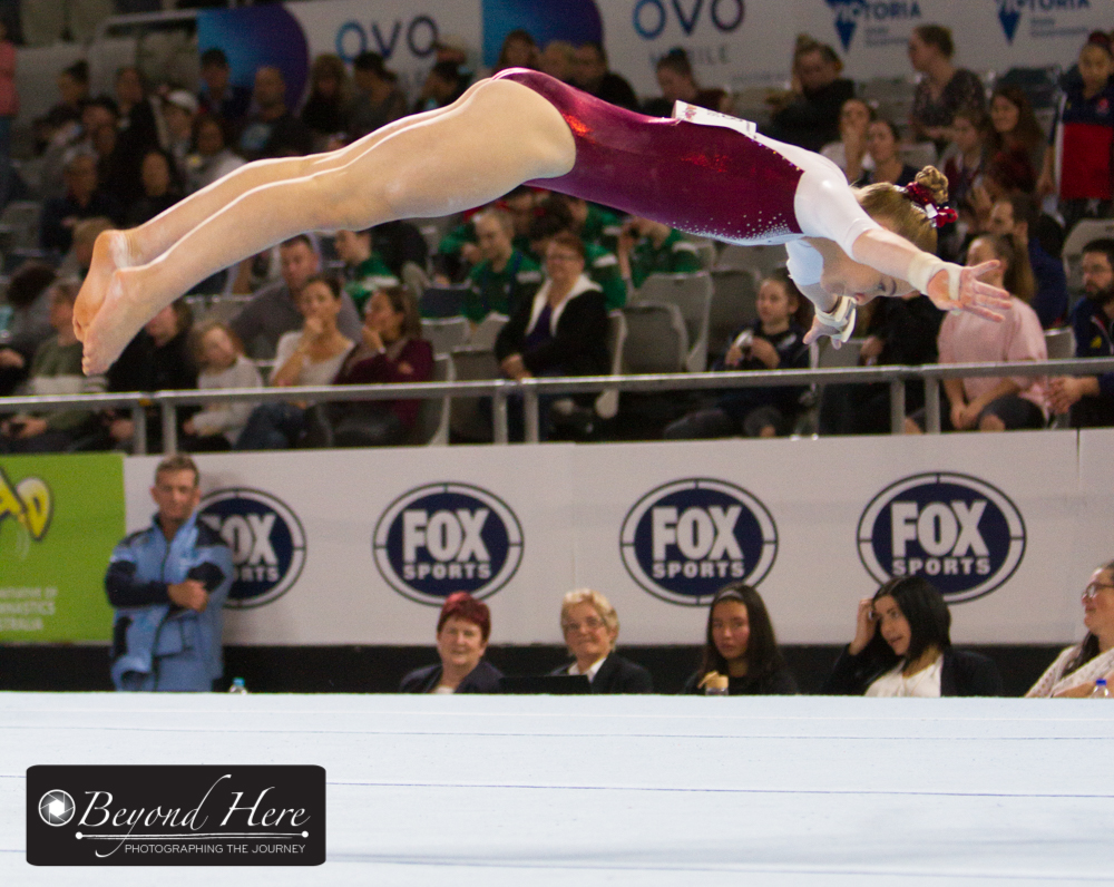 Female gymnast doing floor routine